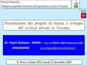 Presentazione dei progetti di ricera e sviluppo sul no food attivi in ...