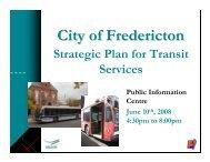 Strategic Plan for Transportation Services - Fredericton