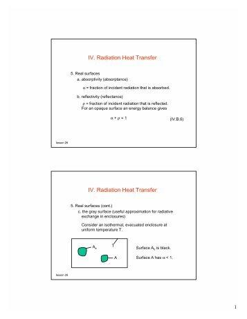 IV. Radiation Heat Transfer IV. Radiation Heat Transfer