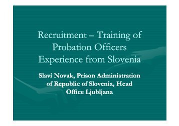 Recruitment & Training of Probation officers in Slovenia