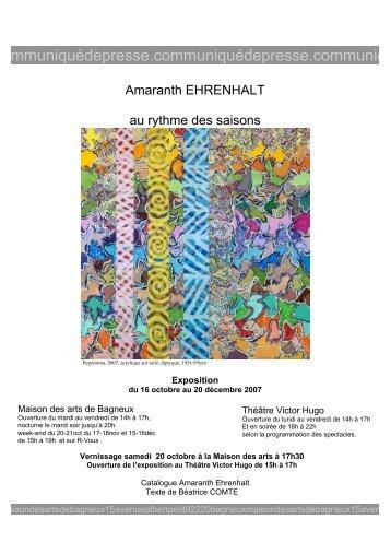 Exposition Amaranth EHRENHALT (16 octobre > 20 ... - Bagneux