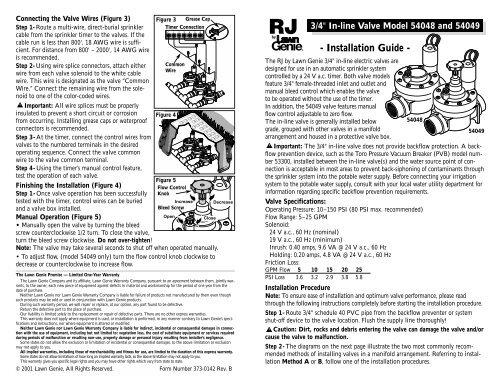 [SCHEMATICS_4FD]  Lawn Genie Richdel 54048-49 Valve Owner's ... - Irrigation Direct | Lawn Genie Solenoid Wiring Diagram |  | Yumpu