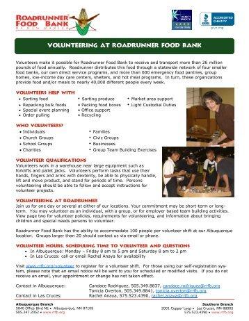 Volunteer Policies - Roadrunner Food Bank
