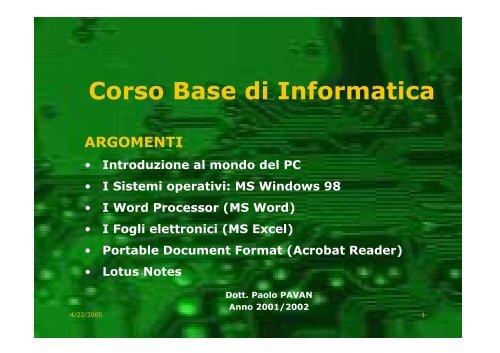 Manuale Base - Paolo PAVAN