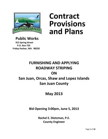 Contract Provisions and Plans - San Juan County