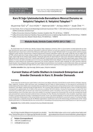 II. Breeder Demands Kars İli Sığır - Kafkas Üniversitesi