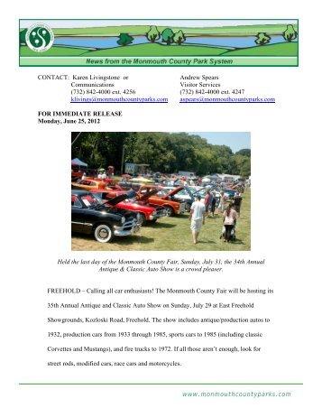 www.monmouthcountyparks.com CONTACT: Karen Livingstone or ...