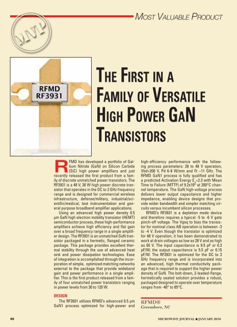 the first in a family of versatile high power gan     - RF