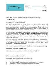 call for workshops leaders - Scenofest - Prague Quadrennial