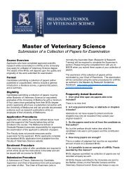 Master of Veterinary Science: Submission of a Collection of Papers ...