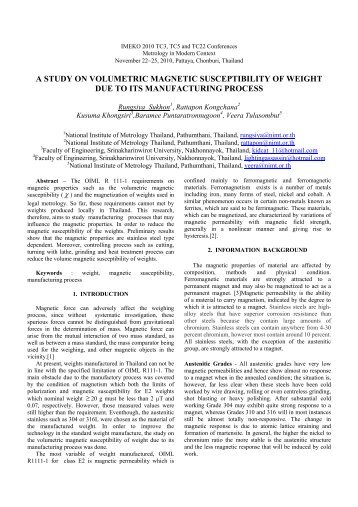 a study on volumetric magnetic susceptibility of weight due to its ...