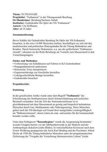 """Thema: EUTHANASIE Projekttitel: """"Euthanasie"""" in der ..."""
