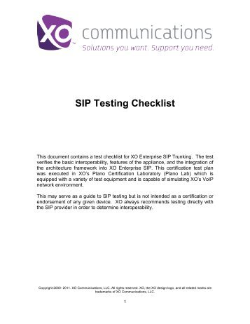 SIP Testing Checklist - XO Communications