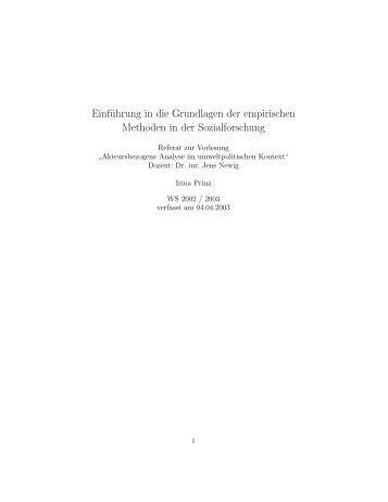Einführung in die Grundlagen der empirischen Methoden in der ...