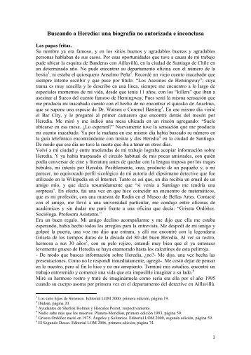 Una bibliografía inconclusa y no autorizada de Heredia