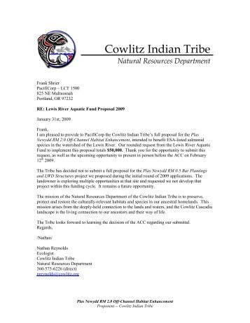 Cowlitz Indian Tribe - PacifiCorp