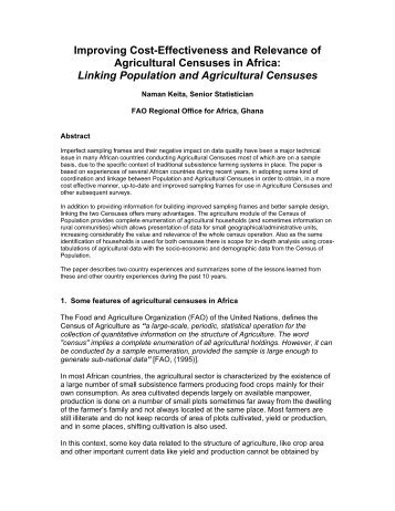 Improving Cost-Effectiveness and Relevance of Agricultural ...