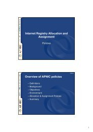 APNIC Policies - SOI (School on Internet)