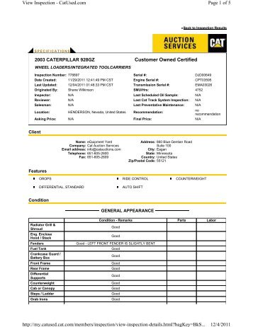Customer Owned Certified Page 1 of 5 View Inspection - CatUsed ...