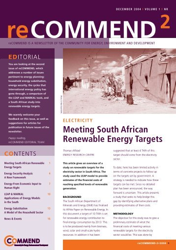 Meeting South African Renewable Energy Targets - COMMEND ...