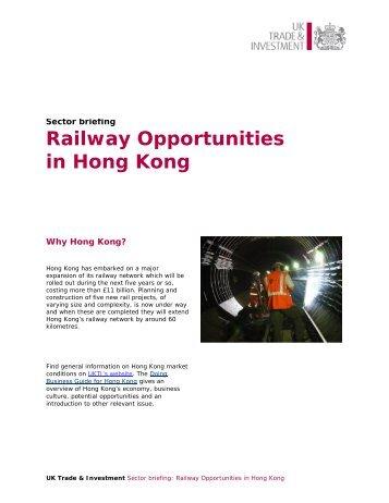 Railway Opportunities in Hong Kong
