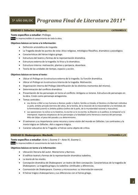 Programa De Literatura Para 5⺠Dh Y Dc 2011