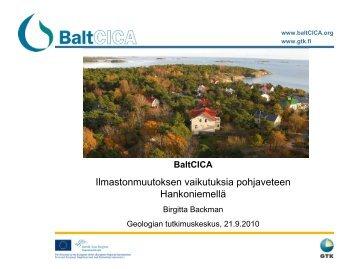 Ilmastonmuutoksen vaikutuksia pohjaveteen ... - BaltCICA