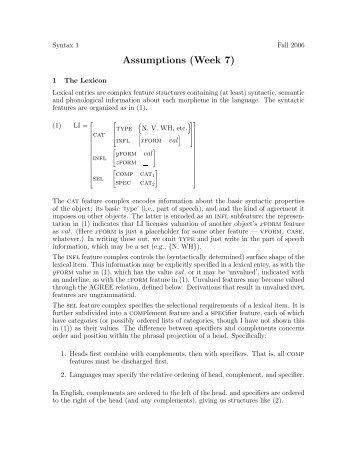 Assumptions (Week 7)