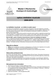 Master 2 Recherche musique et musicologie option médiation ...