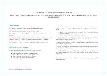 criteres d'accreditation des centres du sommeil - SFRMS