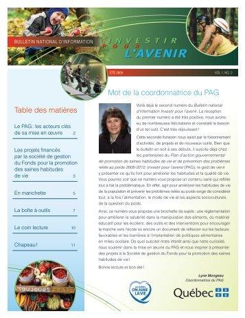 Été 2009 - Gouvernement du Québec