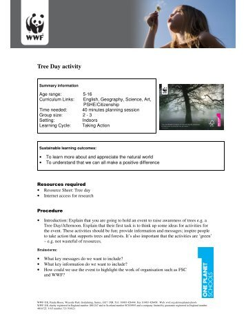 Tree Day activity - WWF UK