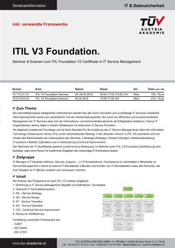ITIL V3 Foundation. - TÜV Austria Akademie
