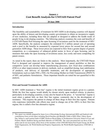 Cost Benefit Analysis for UNITAID Patent Pool - Knowledge Ecology ...