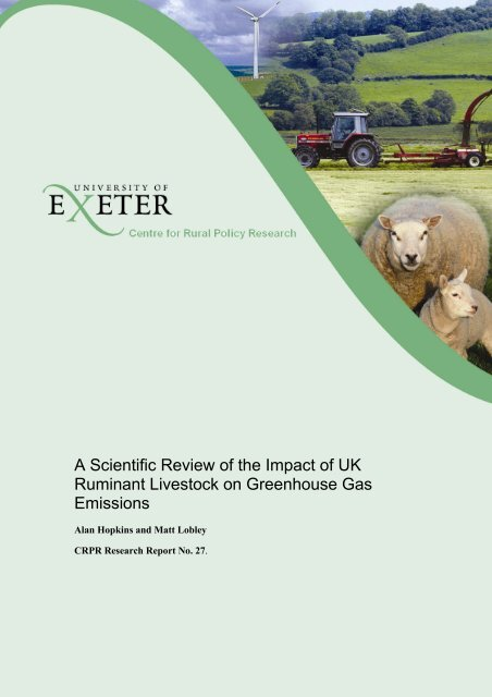 Impact of UK Livestock on Greenhouse Gas Emissions - College of ...