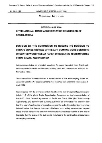 international trade administration commission of south africa ...