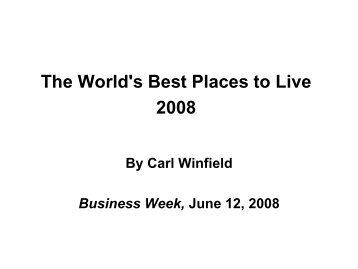 The World's Best Places to Live 2008