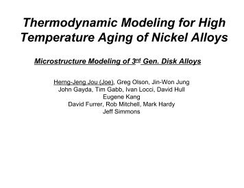 Thermodynamic Modeling for High Temperature Aging of Nickel Alloys