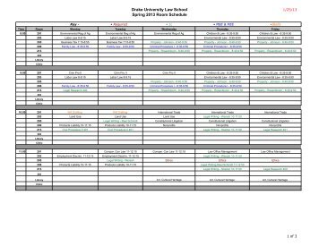 Spring 2013 Room Schedule 1-25.xlsx - Drake University Law School