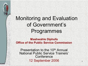 Monitoring and Evaluation of Government's ... - The Presidency