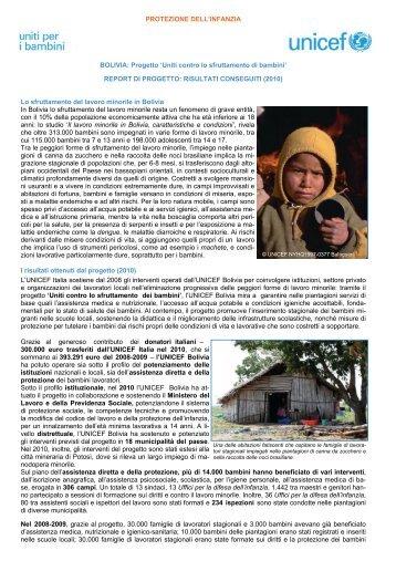 BOLIVIA - Report di progetto 'Uniti contro lo sfruttamento di ... - Unicef