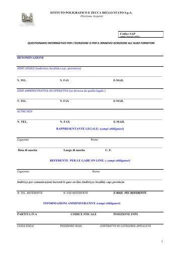 questionario informativo per l'iscrizione all'albo fornitori - Istituto ...