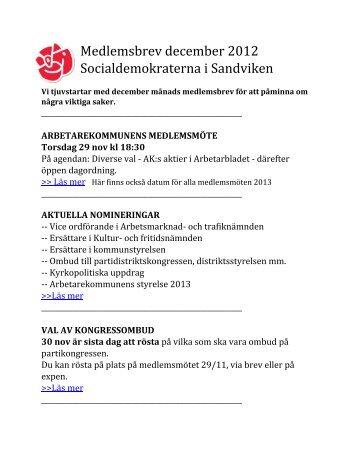Medlemsbrev december 2012 - Socialdemokraterna