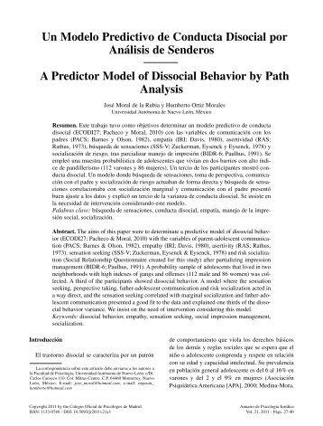 Un Modelo Predictivo de Conducta - Colegio Oficial de Psicólogos ...