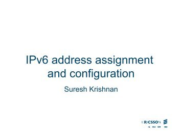 IPv6 address assignment and configuration