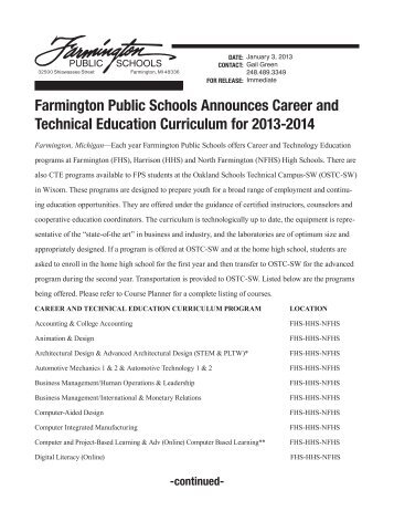 Farmington Public Schools Announces Career and Technical ...
