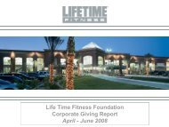 Life Time Fitness Foundation Corporate Giving Report April - June ...