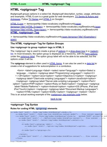 HTML  Tag - HTML 5 Reference for Web Designers