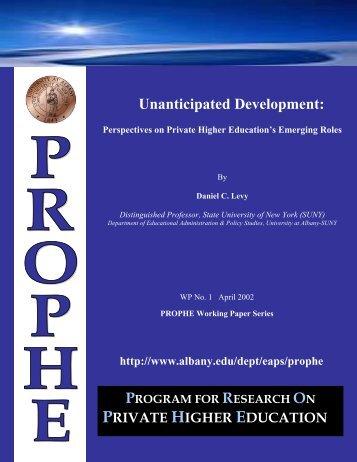 Unanticipated Development: - University at Albany