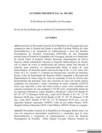 ACUERDO PRESIDENCIAL No. 389-2002 - Biblioteca Enrique ...
